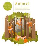 Forest landscape background with Monkeys , vector , illustration