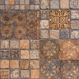 old tile mosaic in oriental style