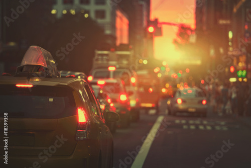 Foto op Canvas New York TAXI Mahattan sunset