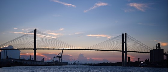 Sunset over suspension bridge in Savannah, Georgia © wxs2102