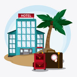 baggage palm tree hotel time travel vacation trip icon. Colorful design. Vector illustration