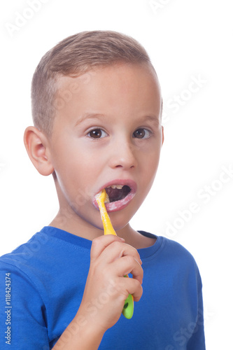 Poster Kid with toothbrush
