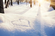 Shape of heart on the snow