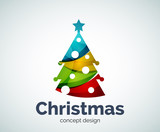Vector Christmas or New Year tree logo template
