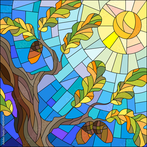 illustration-in-stained-glass-style-with-oak-leaves-on-background-sky-and-sun