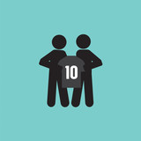 The Football/Soccer Player Showing  A Shirt With Team Manager : A New Player Contract Signing Concept Vector Illustration