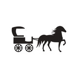 flat icon in black and white style carriage with horse