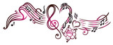 Notenblatt mit Musiknoten, Notenschlüssel, Rose und Herz, cherry red.