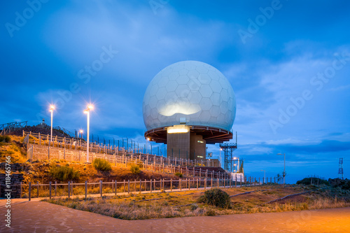 Poster Night view of radar at Pico do Arieiro, Madeira island.