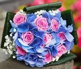Wedding bouquet with hydrangea and pink roses