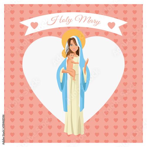Zdjęcia na płótnie, fototapety, obrazy : mary holy baby jesus family merry christmas icon. Pastel heart ribbon colorful design. Vector illustration