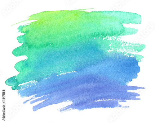 obraz lub plakat Bright green and blue gradient color stain painted in watercolor on white isolated background