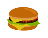 Gamburger Isolated. Hamburger with Meat. Junk Food