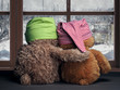 Two friends looking out the window at the falling snow and the city. Toys colorful hats bear cubs. Embrace the . Concept - love, friendship, support