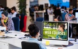 Composite image of web course ad
