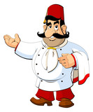 Cartoon chef in the Turkish national fez. The gesture of invitation.