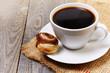 coffee and cinnamon bun