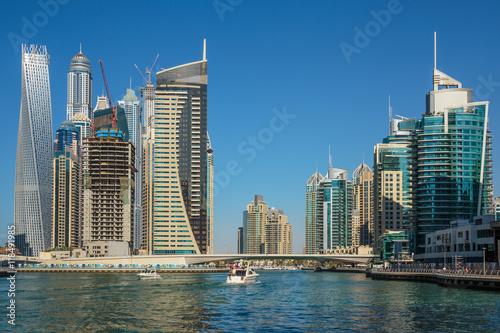 Zdjęcia na płótnie, fototapety na wymiar, obrazy na ścianę : Modern buildings in Dubai Marina UAE
