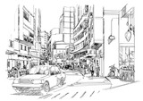 sketch of city street,cityscape,Illustration,drawing - 118493144
