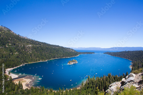 Plakat Beautiful view of Lake Tahoe at Emerald Bay in California USA