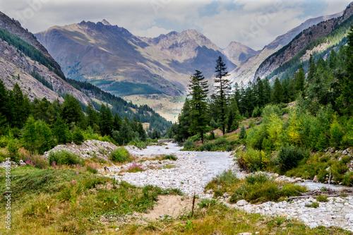 Poster Alpi della valle d'aosta, montagne, cime, creste estive, passeggiata in montagna