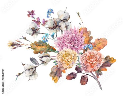 Vintage watercolor autumn floral bouquet  - 118499947