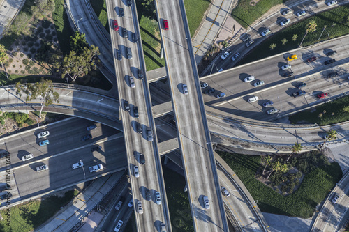 Poster Los Angeles Downtown Four Level Interchange Aerial View
