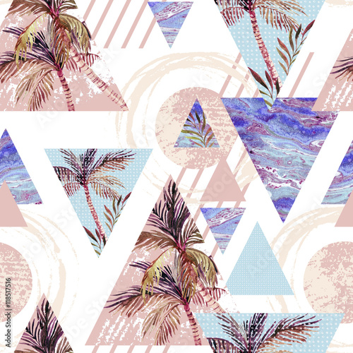 Abstract summer geometric seamless pattern. - 118517516