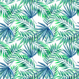 Watercolor tropical leaves seamless pattern - 118519560