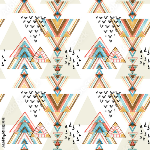 Abstract watercolor ethnic seamless pattern. - 118519998