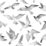 Abstract flying bird set with watercolor texture isolated on white background.