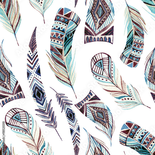 Cotton fabric Watercolor decorated tribal feathers seamless pattern