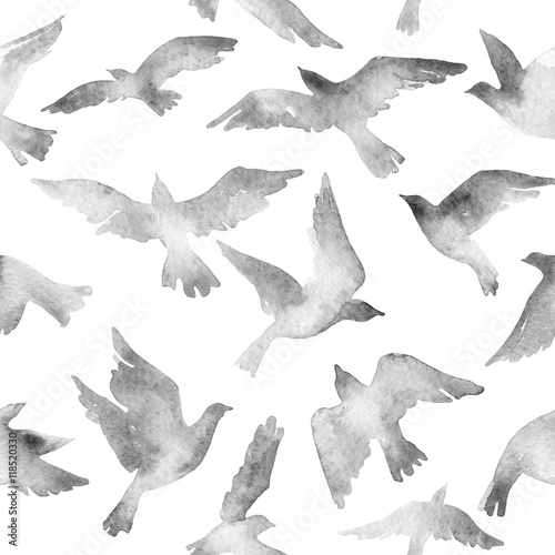 Abstract flying bird set with watercolor texture isolated on white background. - 118520330