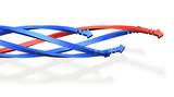 螺旋状に絡みながら進歩する5本の矢印