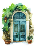 Fototapety Watercolor traditional old-fashioned door illustration