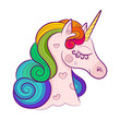 Head of cute white unicorn with rainbow mane isolated on white background. Vector illustration