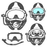 Set of scuba diving elements for emblems,logo ,prints,tattoo,label and design. - 118535528