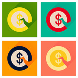 Concept of flat icons with long shadow dollar cent