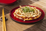 """Delicious Squid and Prawn Okonomiyaki japanese food on red plate 84055731,DELETED 84044294,DELETED 118647050,Social media icons. Chat speech bubble and Globe"""""""