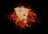 Playing cards on fire. casino concept