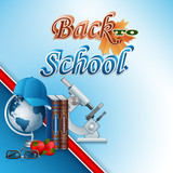Back to school design, background with school supplies and 3d text ; Vector illustration