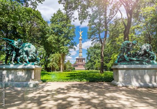 Plakat Tiergarten in Berlin mit Blick auf die Siegessäule