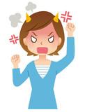 女性 主婦 表情 激怒
