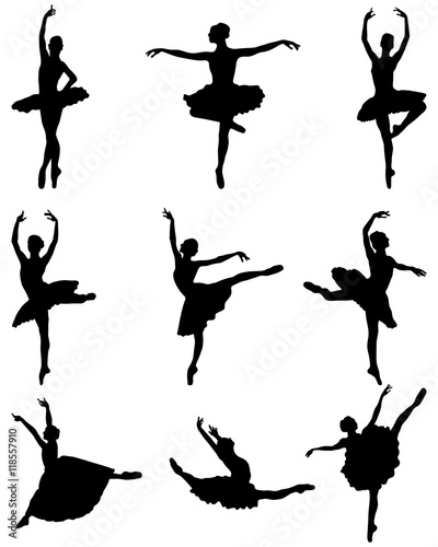 Black silhouettes of ballerinas on a white background, vector © vukam