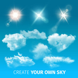 Create Sky Realistic Clouds Icon Set