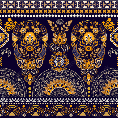 Floral wallpaper. Colorful Paisley border - 118570520