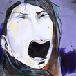 Dark illustration of face of a screaming woman