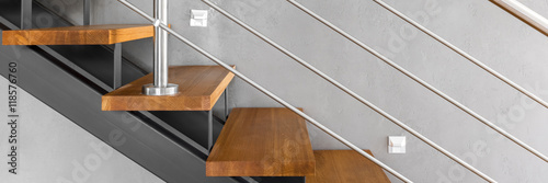 Staircase with chromed railing