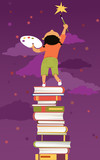 Little girl standing on a pile of books painting a star on the sky, EPS 8 vector illustration, no transparencies