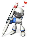 楽しいそうに描くキュートなロボット